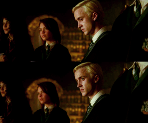 blonde, draco malfoy, and green image