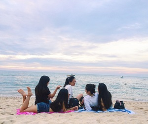 beach, besties, and friendship image