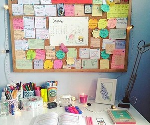 desk, notes, and school image