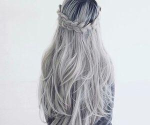 hair, grey, and braid image