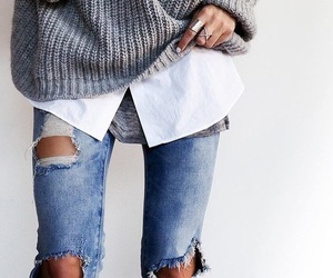 fashion, outfits, and grey sweater image