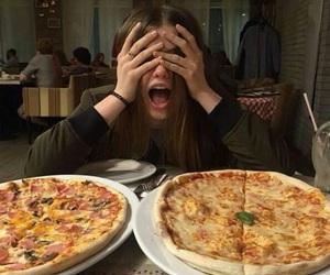 girl, pizza, and food image