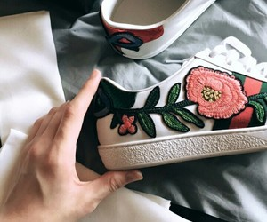 gucci, flowers, and shoes image