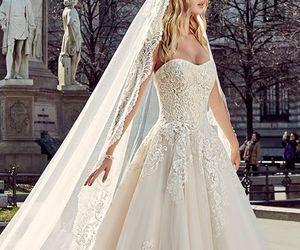 wedding dress, bride, and wedding image