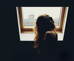 girl, grunge, and window image