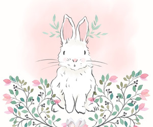 bunny, flowers, and garden image