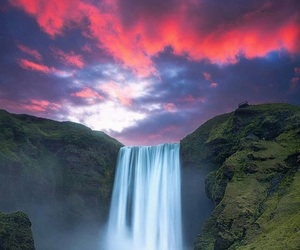 sky, travel, and waterfall image