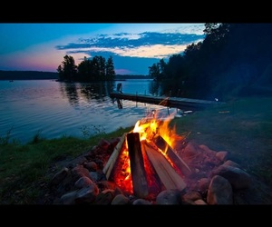 fire, lake, and travel image