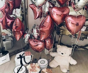 balloons, pink, and gift image