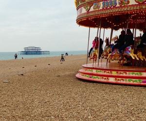 beach, brighton, and carousel image