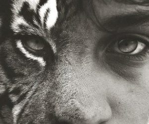 tiger, boy, and black and white image