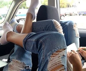 besties, car, and jeans image