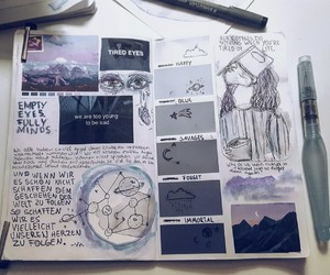 aesthetic, art journal, and blue image