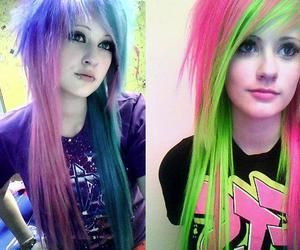 blue and pink, blue hair, and twins image