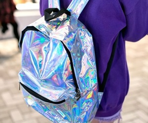 backpack, holographic, and grunge image