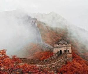 autumn, china, and fog image