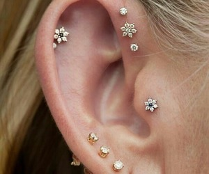 piercing, earrings, and ear image