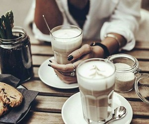 coffee, girl, and drink image