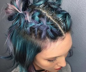 hair, blue, and glitter image