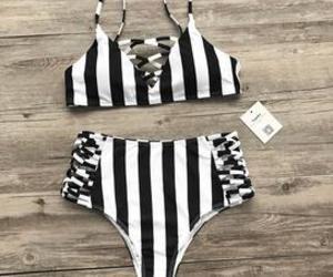 bikini, swimsuit, and stripped image