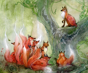 art, stephanie law, and foxes image