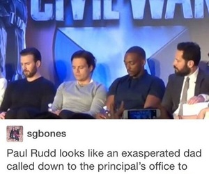paul rudd, chris evans, and Marvel image