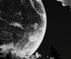 moon, black and white, and forest image