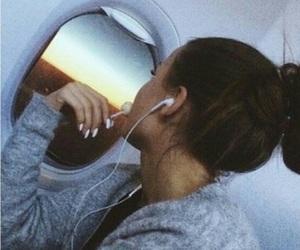 girl, travel, and plane image