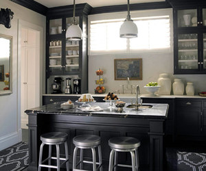 black and white and kitchen image