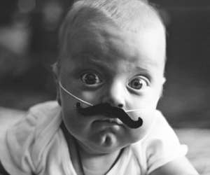 baby, eyes, and mustache image