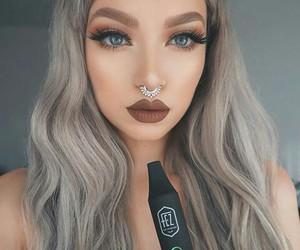 eyelashes, gray hair, and long hair image