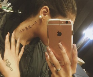 inked, neck tattoo, and nails image