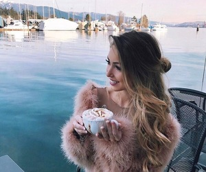 coffee, girl, and hairstyle image