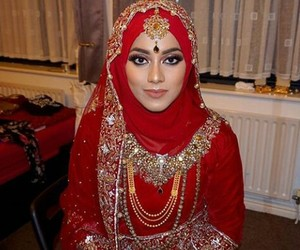 bride, gold, and hijab image