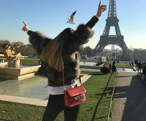 city, eiffel tower, and girl image