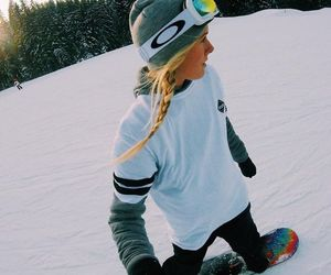 girl, Skiing, and winter image