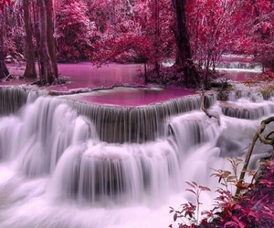 pink, waterfall, and nature image