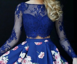 dress, lace, and floral image