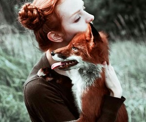 fox, girl, and love image