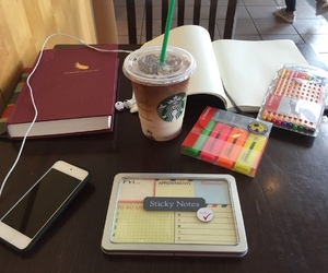 ipod, starbucks, and sticky notes image