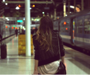 girl, train, and station image