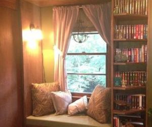 book, pillows, and room image