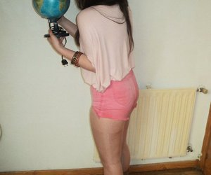 brunette, shorts, and earth image