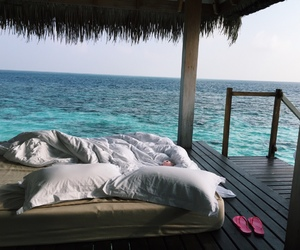 sea, beach, and bed image