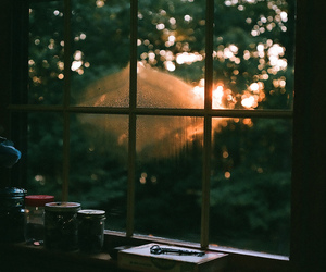 window, light, and sunset image