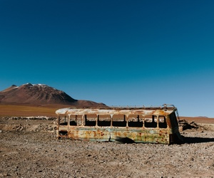 abandoned, bus, and wasteland image