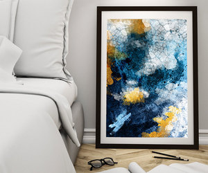 abstract print, abstract art print, and navy and gold image