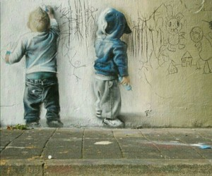 kids, art, and graffiti image