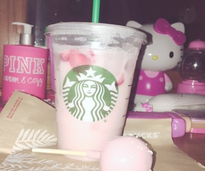 hello kitty, pink, and starbucks image