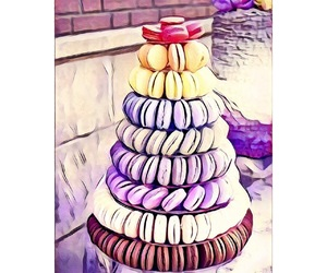 desserts, macaroons, and fineline image